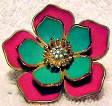 Beautiful Retro Gold banded With Multi-Coloured Enamel Flower Ring