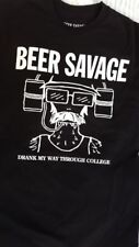 beer savage t-shirt size small black mens casual graphic tee college
