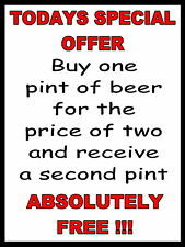 Todays Special Offer Funny Beer Retro metal Aluminium Sign vintage