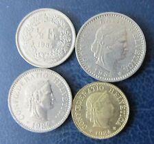 Schweizer Franken 1984 Set 1/2 Franken + 5, 10 und 20 Rappen für Sammler Umlauf