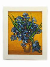 Dipinto Olio su Tela con Cornice - 25x30 cm - Vaso con Iris - Fiori Van Gogh