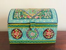 Hand Painted Box Chest, Domed Lid, Fair Trade, Indian, Turquoise Blue