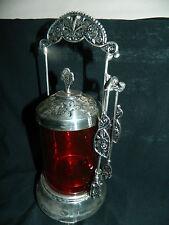 "11"" Elegant Cranberry Glass Covered Pickle Castor Dinner Table Serving Jar Tongs"