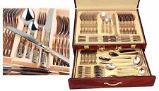 72 Piece Greek Key Silverware Set & Wood Chest - 18/10 Gold Plated Flatware