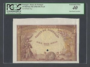 Portugal 10 Mil Reis ND(1902-09) P81p Proof Specimen Extremely Fine