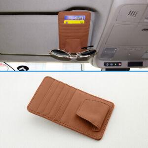 Brown Leather Car Sun Visor Accessories Glasses Shelf Card Case Catcher Pockets