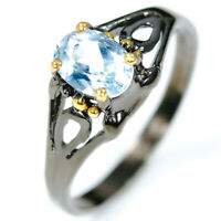 925 Sterling Silver Ring Fashion women Design Natural Blue Topaz/ RVS316