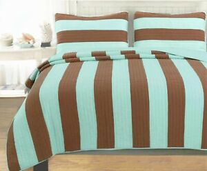 Elaina Brick Red Striped Cotton Reversible Quilt Set, Bedspread, Coverlet