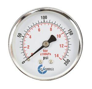 """2-1/2"""" Pressure Gauge - Chrome Plate Steel Case, 1/4""""NPT, Back Mnt. 200 PSI"""