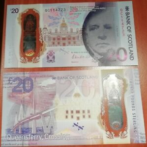 Scotland _ 20 Pounds 2019 ( 2020 ) UNC comm. Queensferry Polymer Lemberg-Zp
