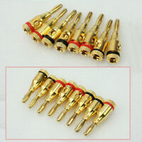 8Pcs New Gold plated Musical Speaker Cable Wire Screw Banana Plug Connector 4mm