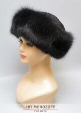 Black FOX Fur Roller Hat w/ Astrakhan KARAKUL Pelzmütze Chapka Fellmütze Fuchs