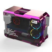 Aluminum Alloy Frame Tempered Glass Mini Computer Case Gaming ATX Matx PC Purple