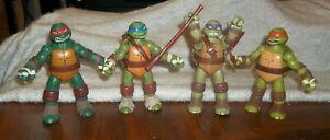 """Teenage Mutant Ninja Turtles Figures Lot 4 Talking Ninja 2012 Weapons 6"""""""