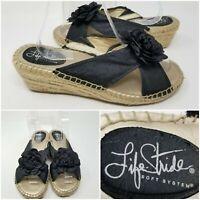 Life Stride Soft System Peep Toe Wedge Espadrilles Heel Sandal Floral Bow SZ 8.5