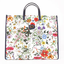 NEW $1800 GUCCI Blue Leather FLORA White CANVAS FLORAL PRINT Large TOTE BAG NWT