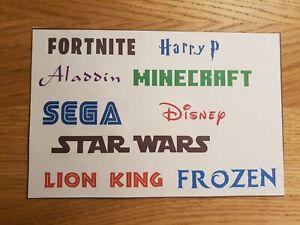 Personalised Name Vinyl Sticker Decal / Disney / Gaming / Fun Fonts Water Bottle