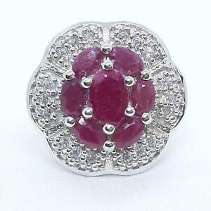 World Class 2.70ctw Mozambique Ruby & Diamond Cut White Sapphire 925 Ring Sz 7