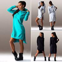 Womens Hooded Dress Asymmetric Jumper Long Tops Pockets Sweater Warm Sweatshirt