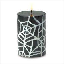 Black & White Spider Web PUMPKIN PIE SPICE Scented Halloween Candle Decoration