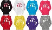 Aeropostale AERO LOGO LONG SLEEVE NYC TIMES CREW T SHIRT TEE TOP S,M,L,XL,2XL