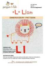 L is for Lion embroidery pattern by Penguin Fish FREE SHIPPING