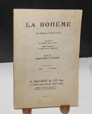 LIBRETTO OPERA PROGRAM LA BOHEME Puccini  G. RICORDI & CO 1917 English Italian