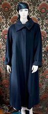 Womens MAX MARA Italy Black Wool Long Coat Cowl Neck Size 8