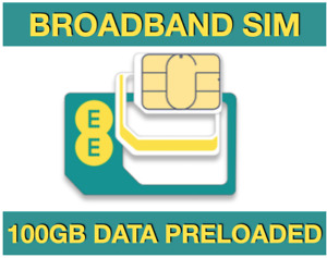EE Broadband Sim Card, Preloaded with 100GB data for MIFI WIFI ROUTERS TABLETS
