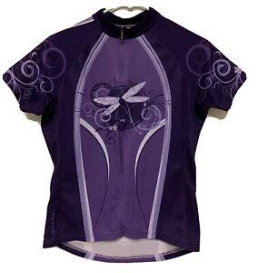 Primal Women's CYCLING Biking JERSEY Small S pockets 3/4 Zip Purple Dragonfly