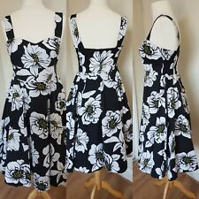 Ladies Black White Rockabilly Dress Fit & Flare Swing Petite UK 12