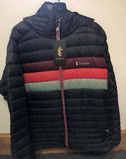 Cotopaxi Mens Fuego Hooded Down Jacket - Graphite Stripes Large NEW