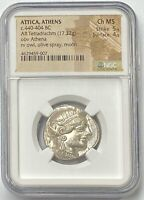 ATTICA ATHENS OWL 440-404 BC Silver Tetradrachm NGC CHMS Own The BEST Owl Here!