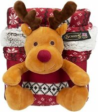 More details for santa paws dog christmas pet blanket & squeaky reindeer toy xmas gift set