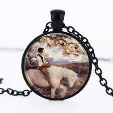 Horse and man photo dome Black Cabochon Glass Necklace chain Pendant