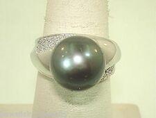 14k WHITE GOLD 12.82CTS 12.1MM TAHITIAN BLACK PEARL 0.18CTS DIAMOND RING 7.75