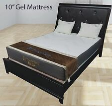 """New 10"""" Inch Queen Traditional Firm GEL Memory Foam Mattress Bed with 2 Pillows"""