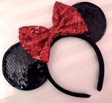 NEW Minnie Mouse Classic Sequin Red Bow Black Color Changing Ears Headband
