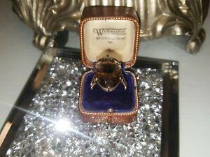 9ct Gold Vintage Large Smokey quartz Size P to Q