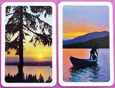 PAIR VINTAGE SWAP CARDS. MIDNIGHT SUN SWEDEN. BOAT / LAKE SCENES. ESSELTE GRAKO