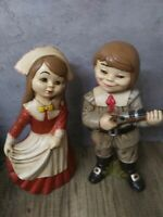 "Vintage pair Thanksgiving Ceramics Pilgrim Girl and Boy Alberta Mold 12"" EUC"