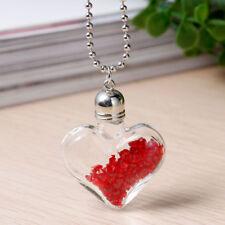 Wunderschöne KETTE mit GLASFLASCHE in Herzform * ROT * STRASS * Geschenk *