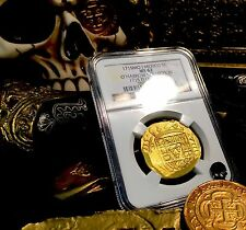 MEXICO 1715 FLEET SHIPWRECK 8 ESCUDOS NGC 62 GOLD DOUBLOON COB COIN 3rd FINEST K
