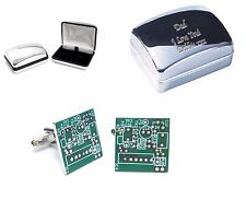 Computer Circuit Board Cufflinks & Engraved Chrome Case Personalised your text