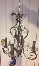 Vintage Chandelier Brushed Nickel Finish 4 Electric Candles Ceiling Light 13x16