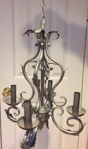 Vintage Chandelier Brushed Nickel Finish 4 Electric Candles Ceiling Light 13x16