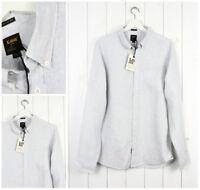 NUEVO LEE 101 con botones 100% Flax Camisa De Rayas Gris Corte Normal S/M/L/XL