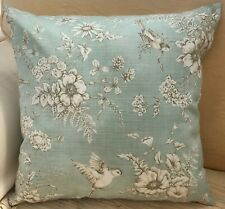 Duck Egg Blue Printed Birds and Flowers Reversible Evans Lichfield Cushion Cover