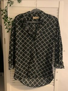 Women's Black Burberry shirt/blouse with white chain Detail Size M