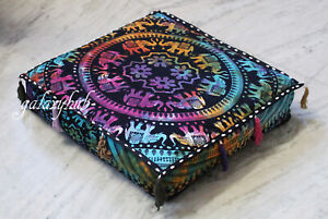 18 Inch Square Multi Elephant Mandala Box Cushion Cover Decorative Pillow Covers